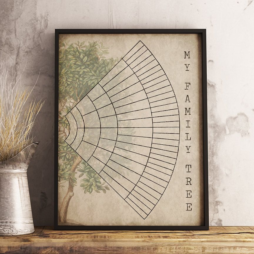 6 Generation Family Tree Fan Chart Instant Download Printable