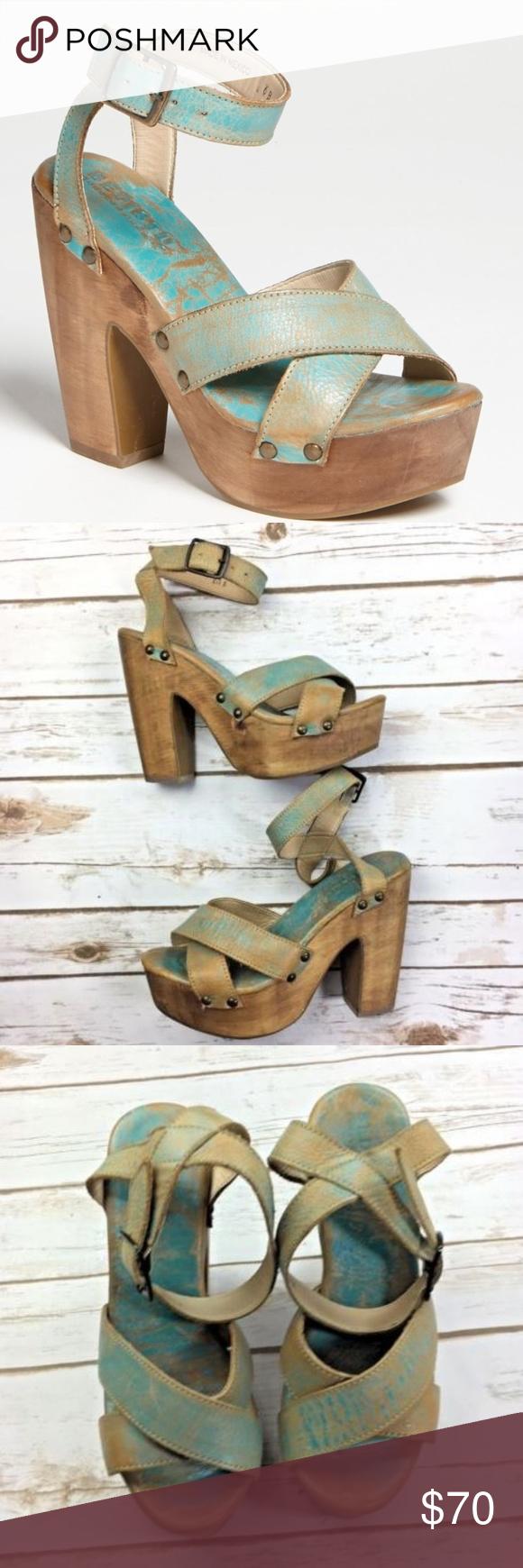 5c398bb05b Bed Stu Madeline Leather Platform Open Toe Heels Bed Stu womens Distressed  Heels size 7.5 Excellent