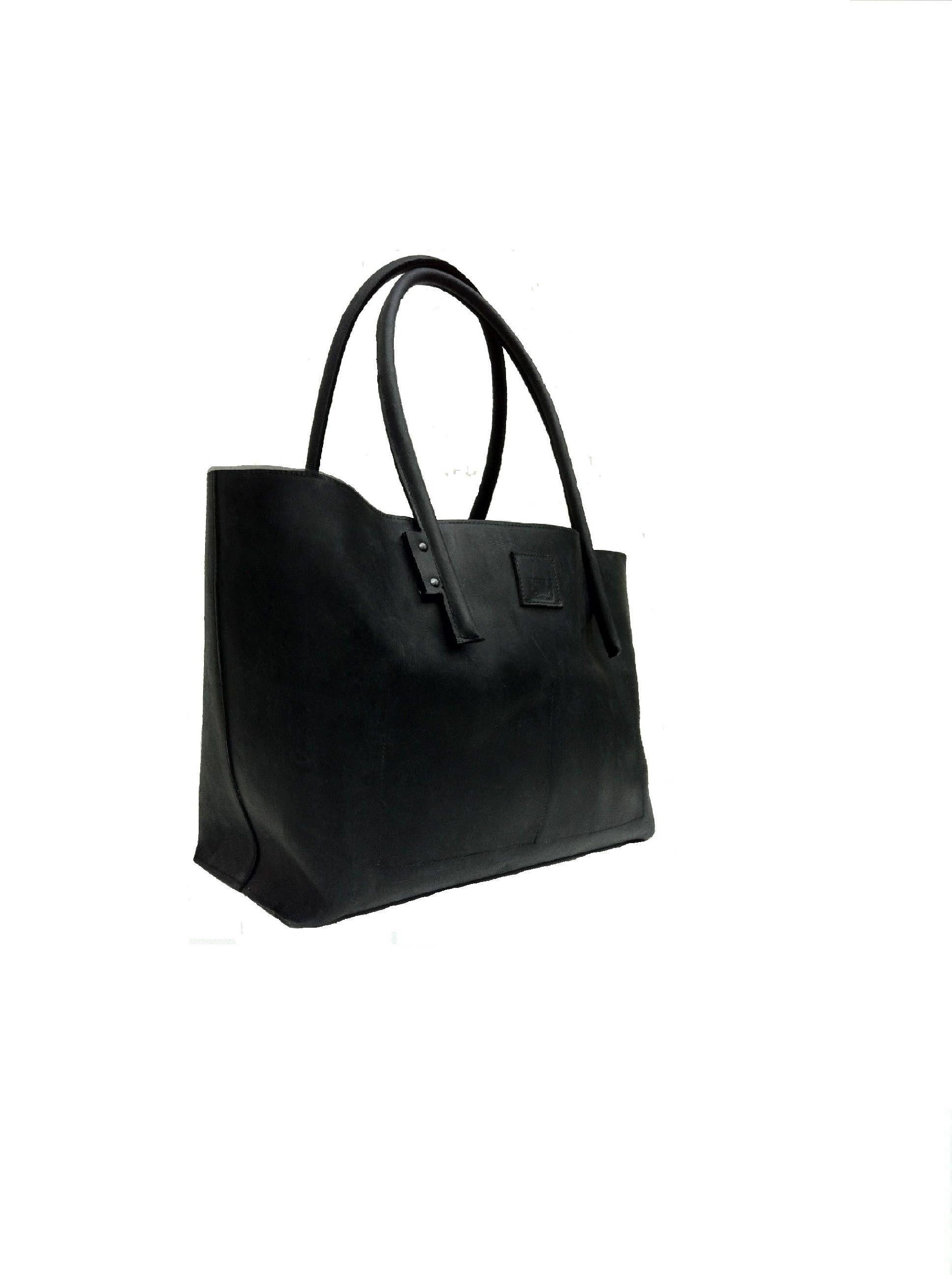 black large leather handbag handmade weekender shopping bag shopper ledershopper used look. Black Bedroom Furniture Sets. Home Design Ideas