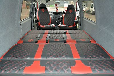 Vw T4 Diamond Patterned Front Seats In Smooth Black Vinyl With Red Detailing Here We Have A Set Of Vw T4 Tapiceria Coche Asientos De Coche Interiores De Vocho