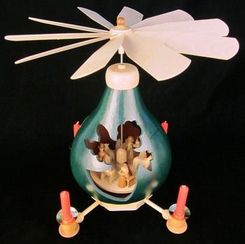 Angel Christmas Song Nativity Art Gourd Carousel Green Taper ...