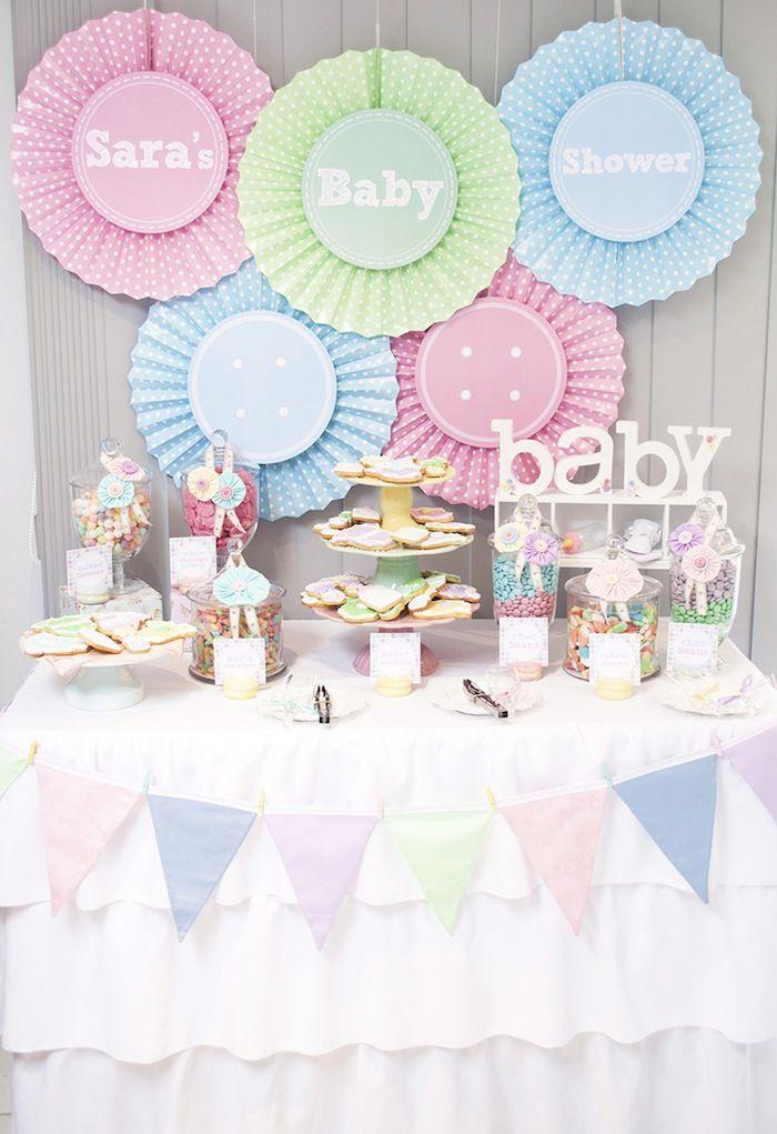 Cute as a Button Baby Shower with SUCH CUTE IDEAS via Kara's Party Ideas | KarasPartyIdeas.com #girlbabyshower #cuteasabuttonparty #partyide...