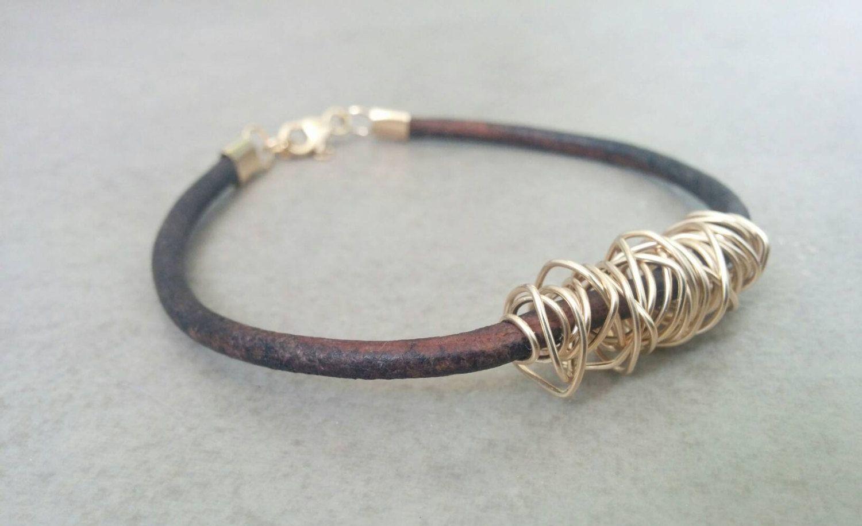 Leather bracelet womens leather bracelet leather gold bracelet