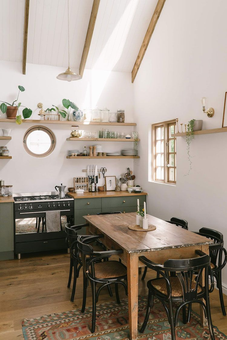 my scandinavian home: Before And After: A Drab Cape Town Interior Becomes A Warm And Cosy Cottage _ boho kitchen in green, white and wood / open shelves. #desertlife