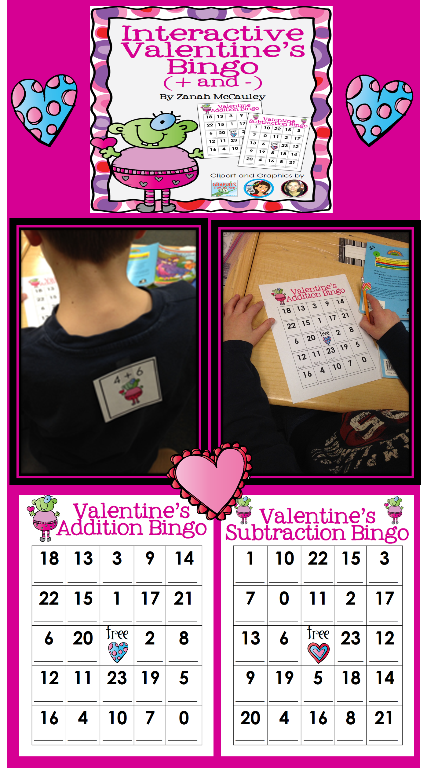Interactive Valentine S Bingo Addition And Subtraction
