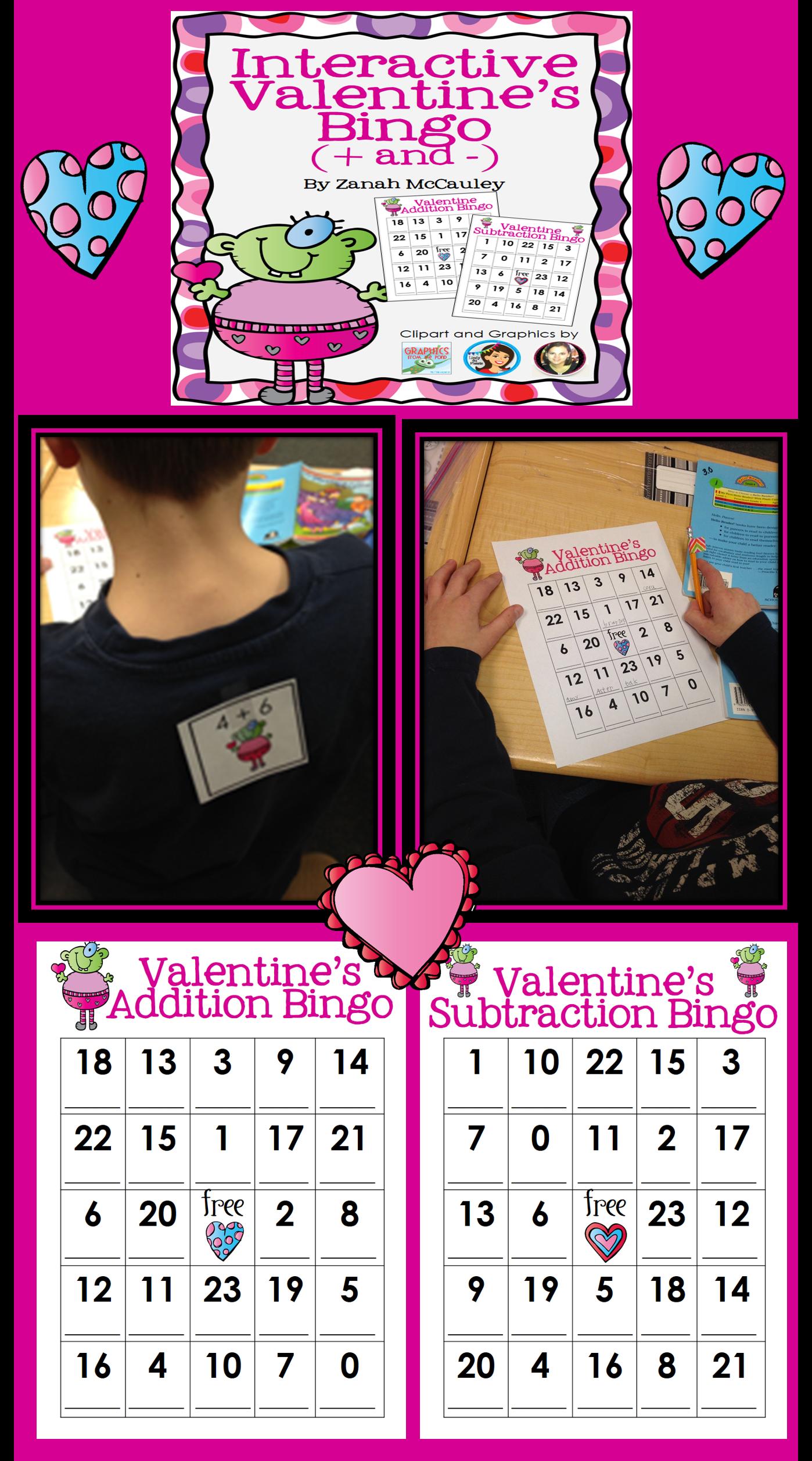Interactive Valentine S Bingo Addition And Subtraction