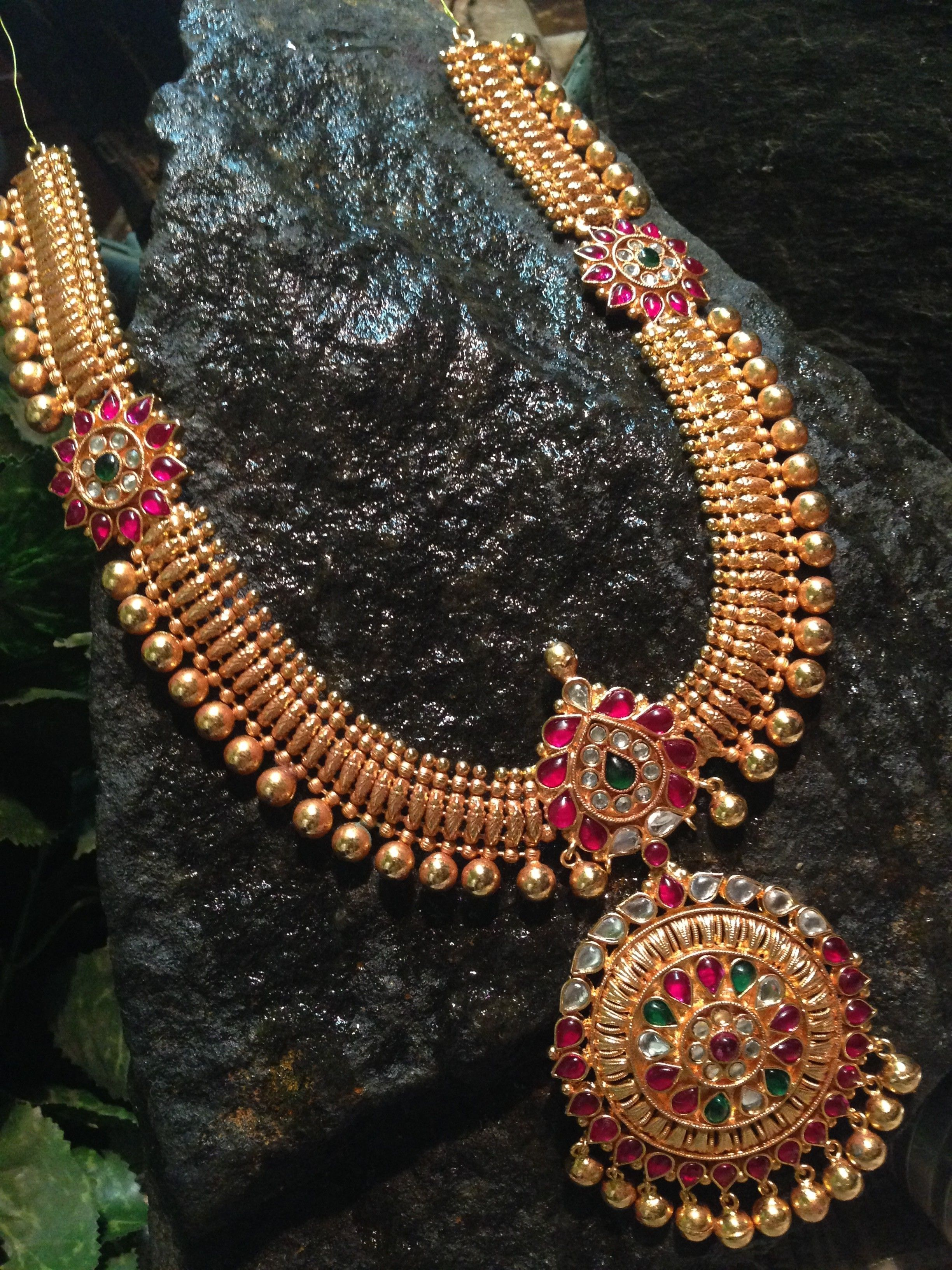 Broad antique long haram designs indian wedding wedding for Indian jewelry queens ny