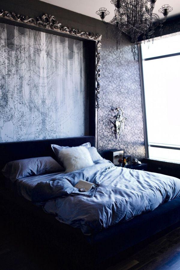 Modern bedroom with Neo baroque chandelier