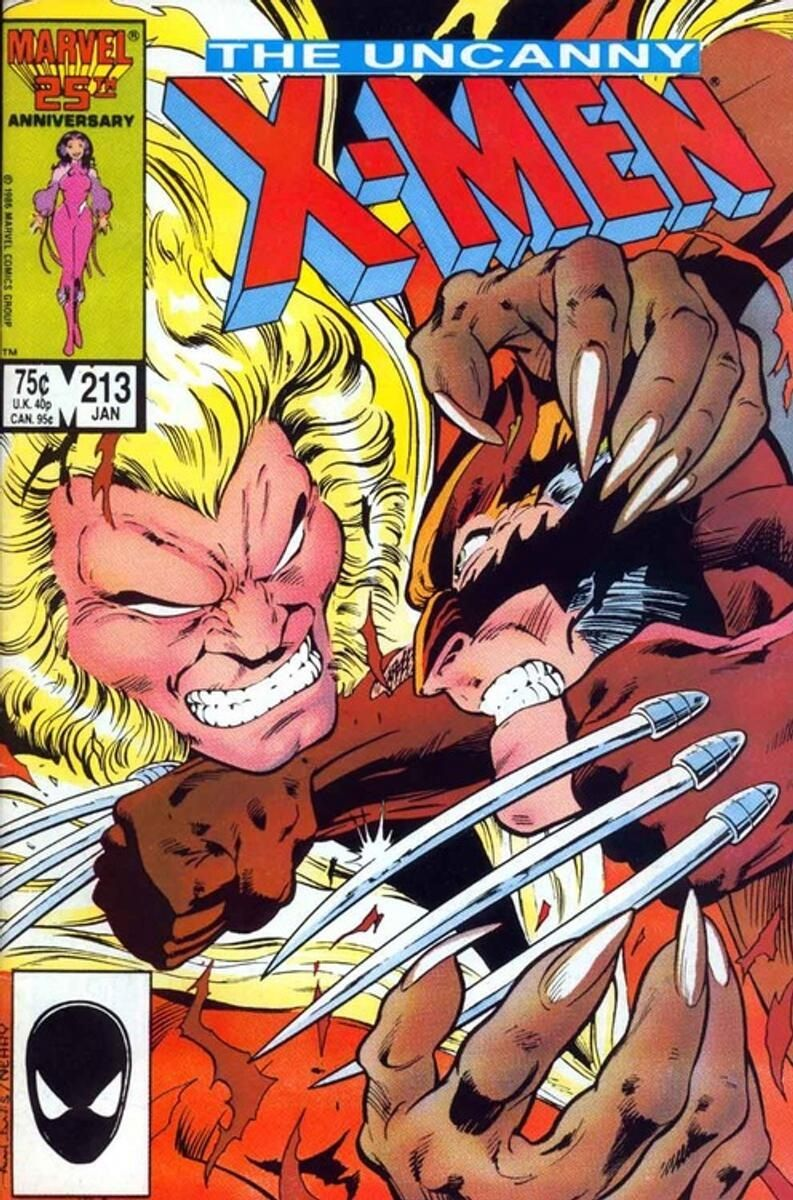 A classic Wolvie and Sabretooth battle drawn by Paul Davis.