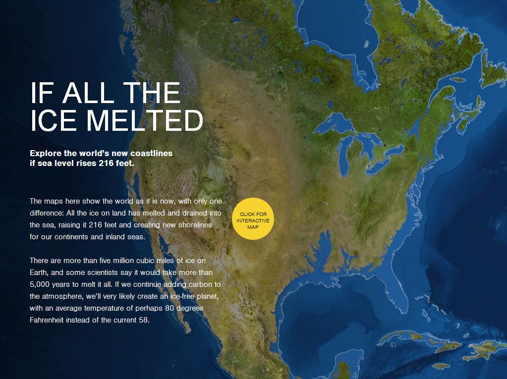 What the world would look like if all the ice melted sea level national geographic magazine interactive mapsea gumiabroncs Gallery