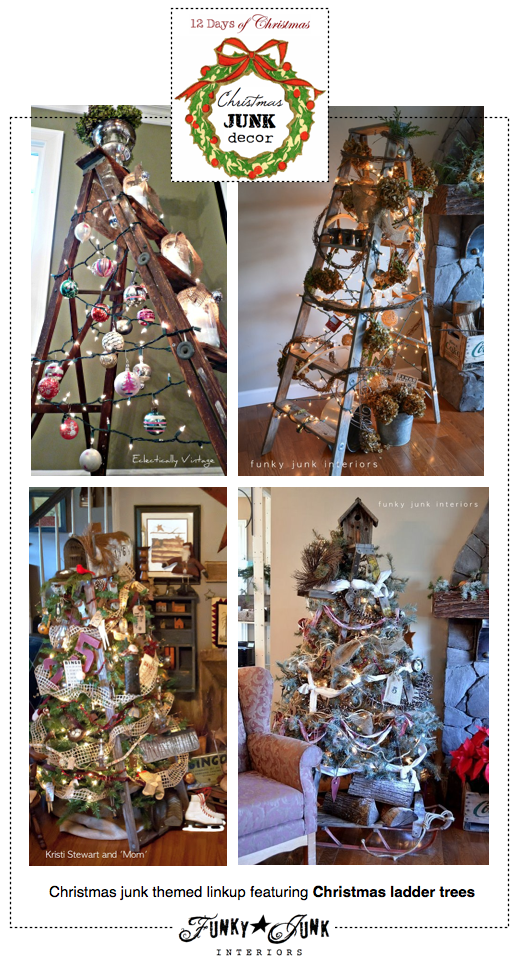 wooden ladder christmas trees | Ladder christmas tree, Funky junk ...