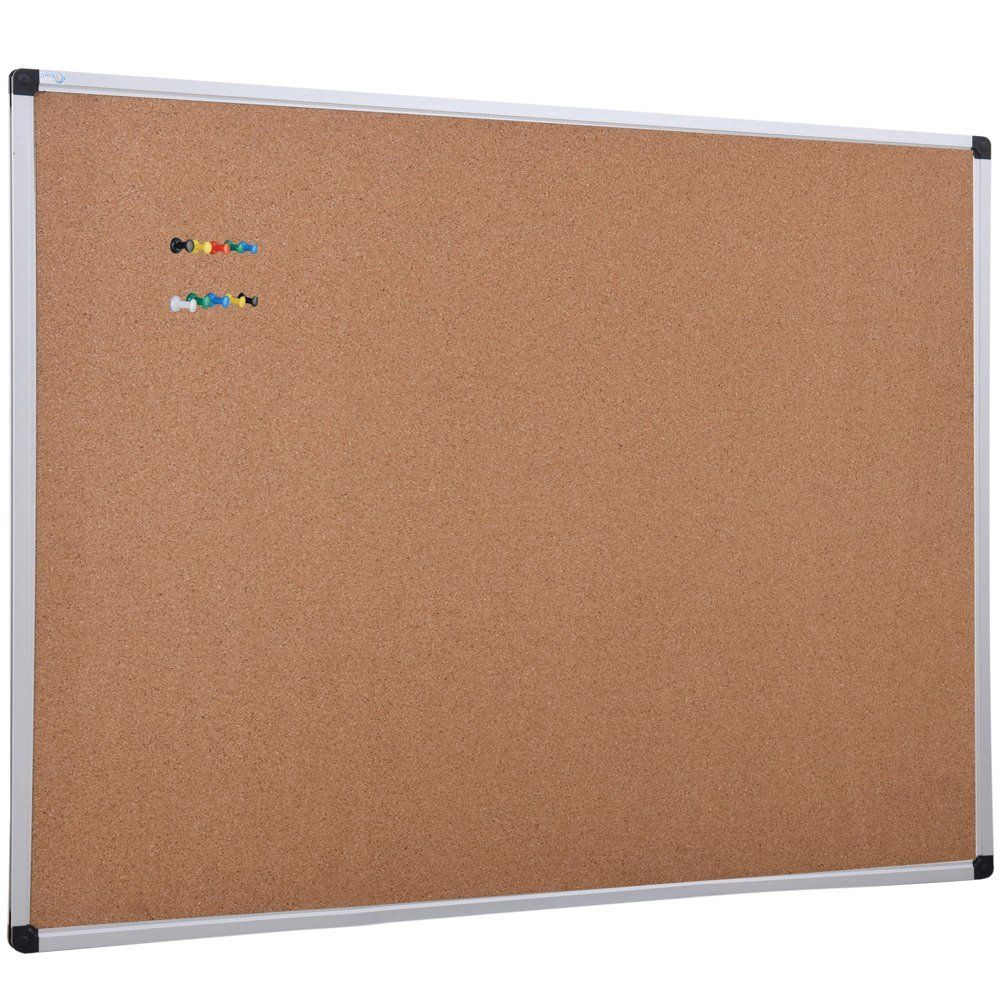 pin board for office. XBoard Aluminum Frame Wall-Mounted 48 X 36 Inch Cork Board Tack With 10 Colorful Push Pins For Display And Organization Office Product Pin