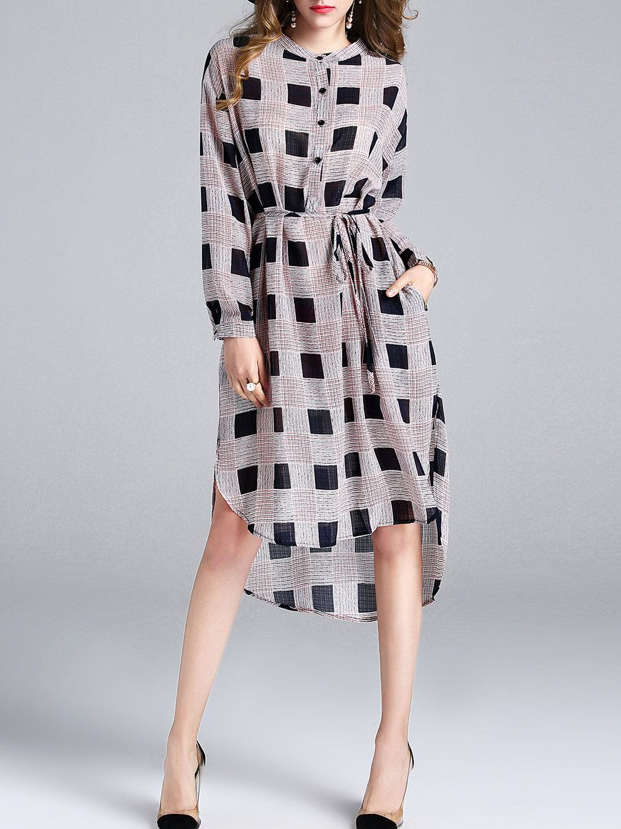 Black checkered long sleeve pockets midi dress with belt places to