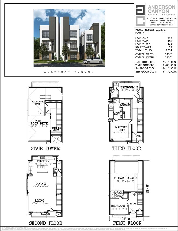 Townhouse Plan A0730 A1.1   How to plan, Modern house plans ...