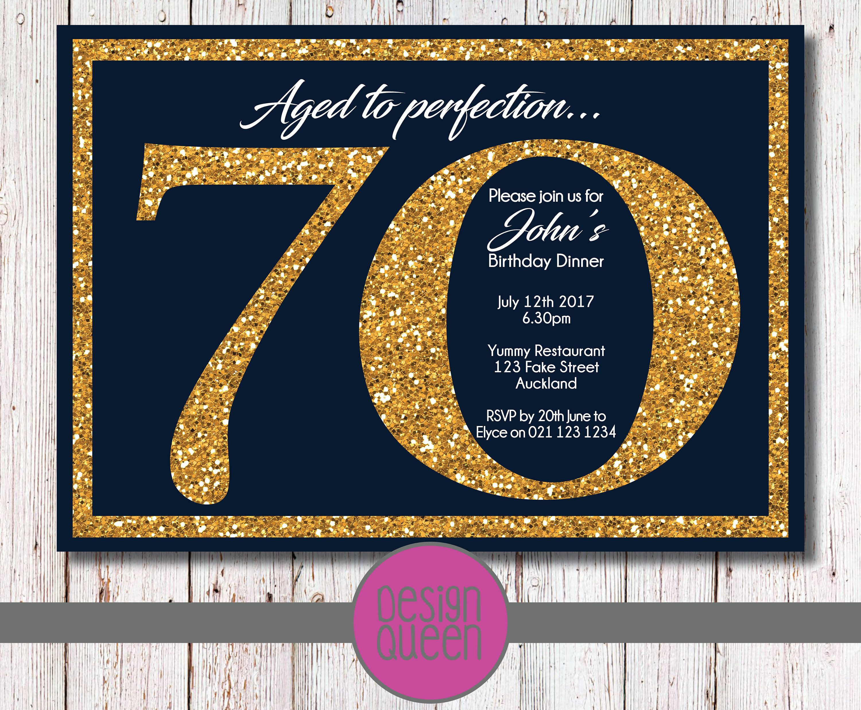 Navy and Gold Glitter Birthday Invitation - YOU PRINT custom ...