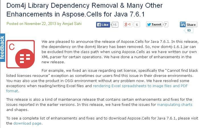 AsposeCells for Java 761 now allow developers to remove Dom4j