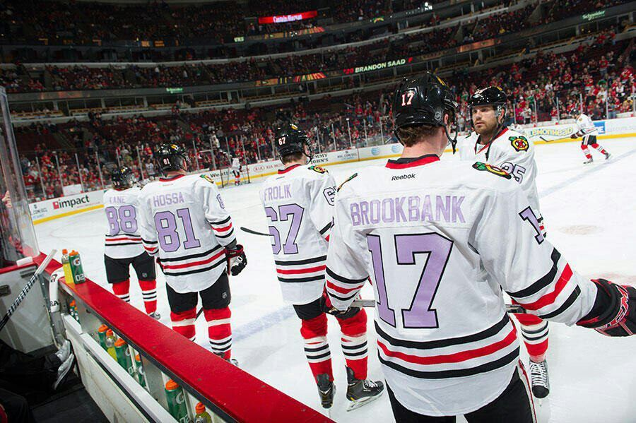 169033ca3ec Special lavender Chicago Blackhawks jerseys to support the