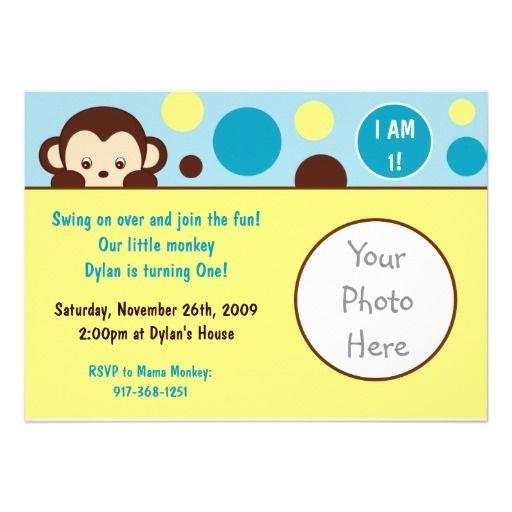 Mod Monkey Photo Birthday Invitations