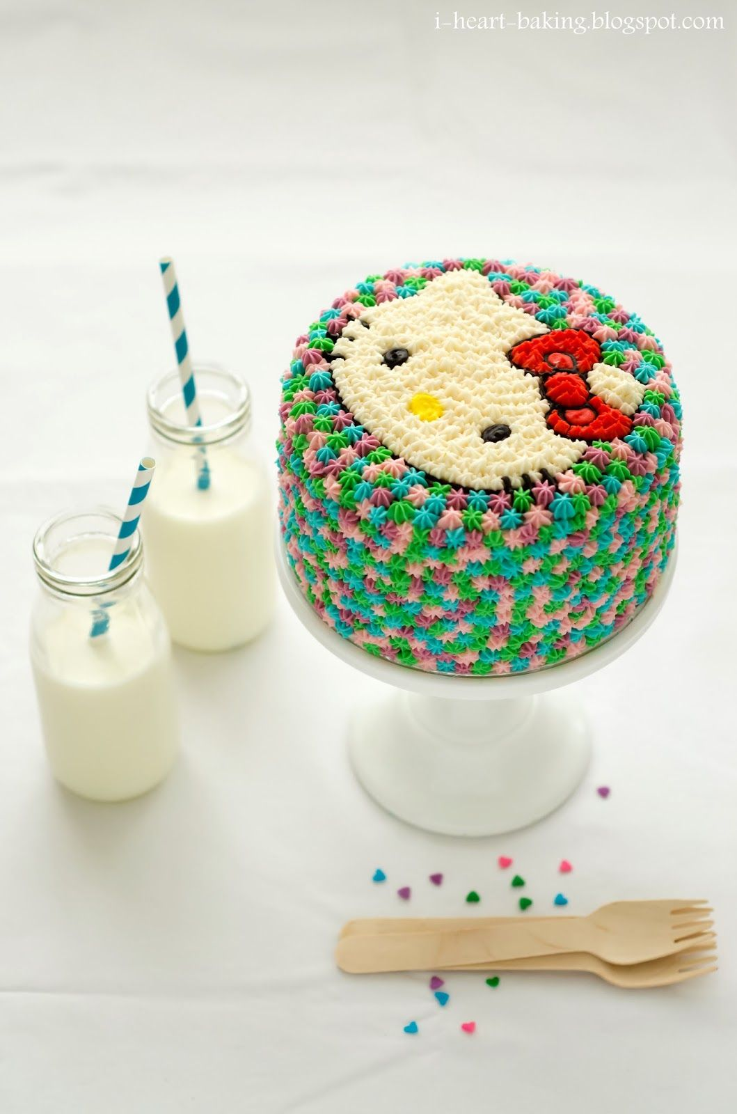 I Heart Baking Hello Kitty Pastel Pom Pom Birthday Cake