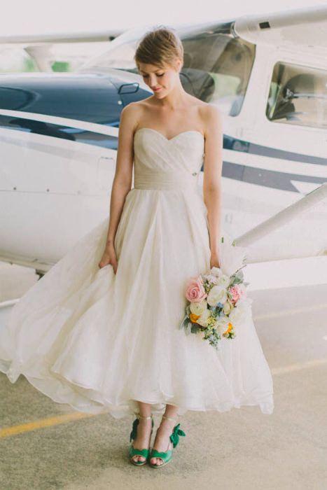 Colorful Wedding Shoes Trend Tea Length Wedding Dress Wedding
