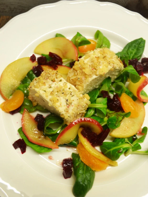 Photo of A festive start! Smoked trout mousse in a walnut-horseradish coat on a wintry salad