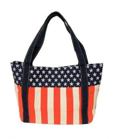 Canvas American Flag Print Shopper Bag