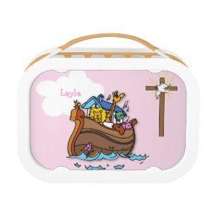 "Customizable Noah's Ark Baby Baptism, Girl Pink Yubo Lunchbox (<em data-recalc-dims=""1"">$50.95</em>)"