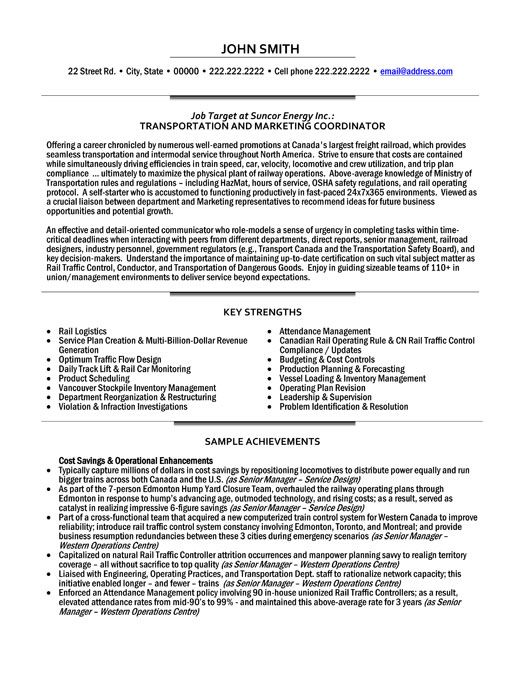 A Professional Resume Template For A Transportation And Marketing Coordinator Want It Download It Now Retail Resume Template Marketing Resume Resume Examples