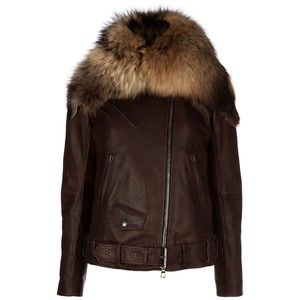 BALMAIN fur collar leather jacket