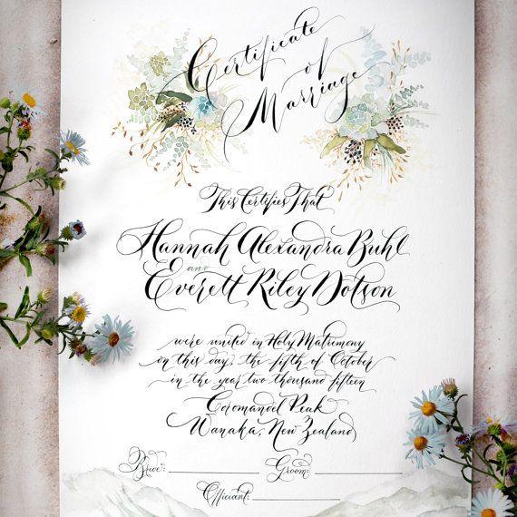 Marriage Certificate Wedding Certificate Custom por eDanae en Etsy - wedding certificate template