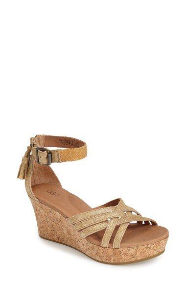 d1568d2bdd23 UGG® Australia  Lillie  Glitter Suede Wedge Sandal (Women) available at   Nordstrom