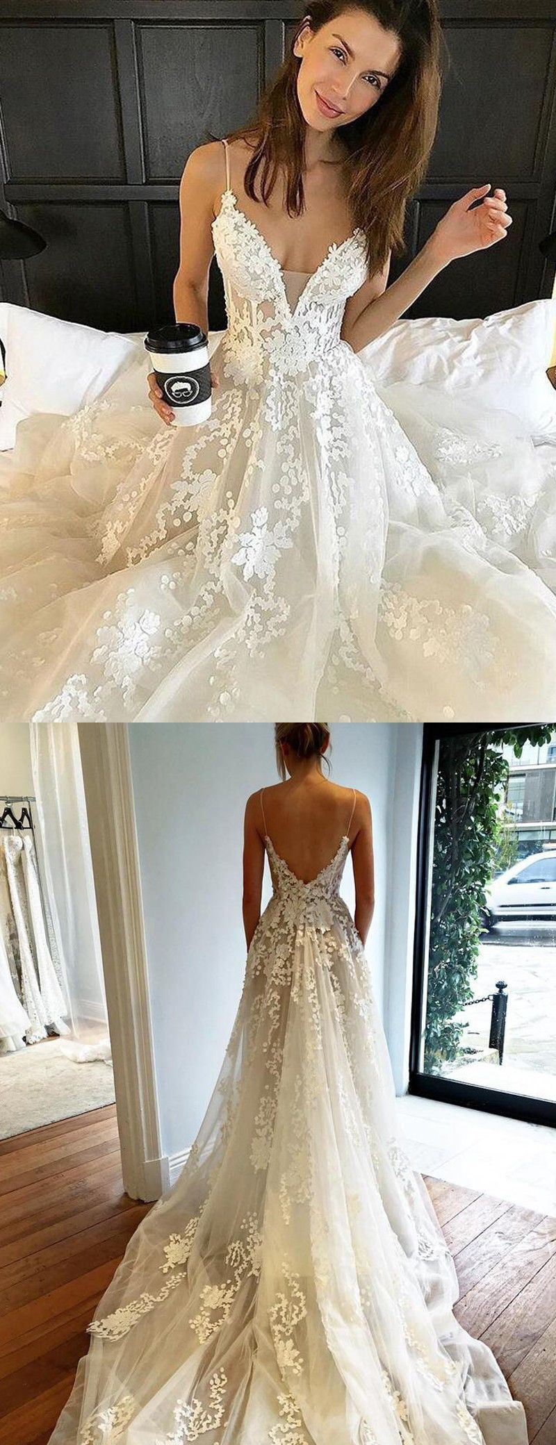 Simple spaghetti straps sweep train backless wedding dress with