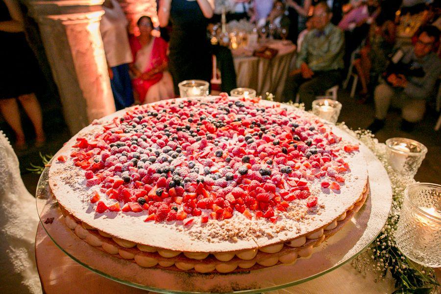 Traditional Italian Millefoglie Wedding Cake With Fresh Berries