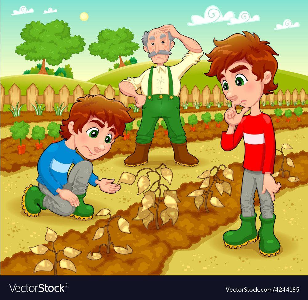 Funny Scene In The Vegetable Garden Vector Image On Vectorstock In 2020 Funny Scenes Vegetable Cartoon Cartoon Clip Art