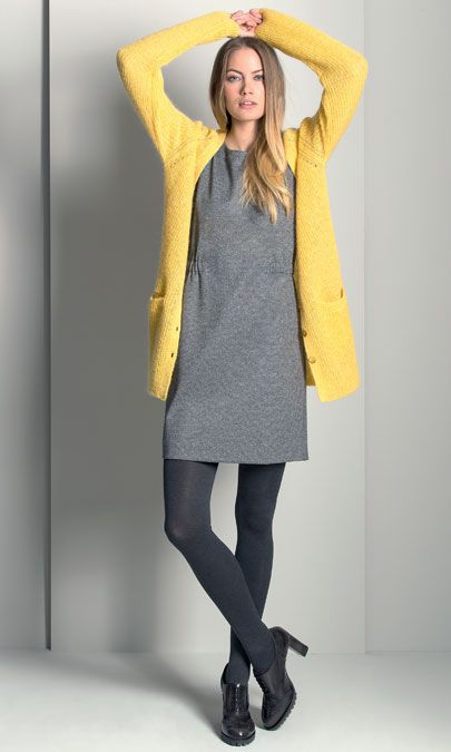 A Long Knitted Cardigan combined with a Feminine Dress and High-Heel Oxford Shoes #GigueAW16 #Autumn #NewArrivals #FallCollection #AW16 #Gigue
