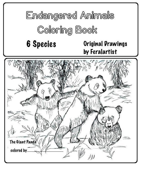 Coloring Book Endangered Animals Coloring Book 6 Original Drawings By Feralartist Animal Coloring Books Coloring Books Endangered Animals