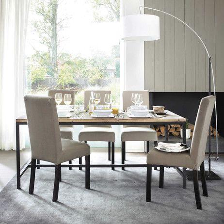 Table de salle à manger indus en bois massif et métal L 178 cm Long