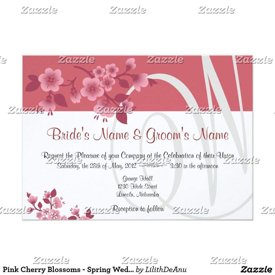 Invitación Flores de cerezo rosadas - el boda de la primavera