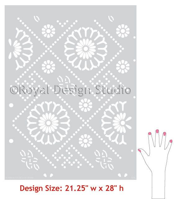 Stenciling Projects using Oriental and Asian Home Decor Designs - DIY Wallpaper Wall Stencils - Royal Design Studio