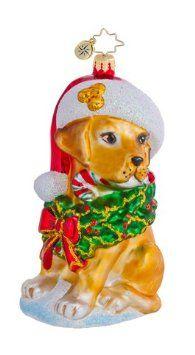 Amazon.com - Christopher Radko Glass Golden Labrador Lucky Dog Christmas Ornament #1016456
