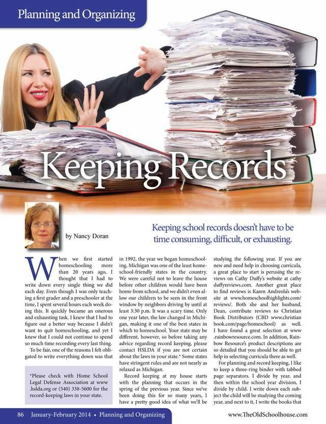 Keeping Records – By Nancy Doran The Old Schoolhouse Magazine - January 2014 - Page 86-87
