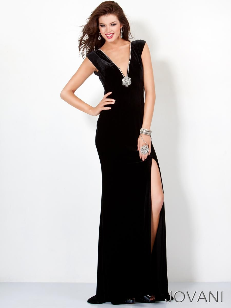 7b28ecfd97649 Deep V-neck gown features beaded embellishment and a beaded brooch $750  Jovani Prom 4220 Jovani Prom Foxy Lady, Myrtle Beach SC, Prom, Pageant, ...