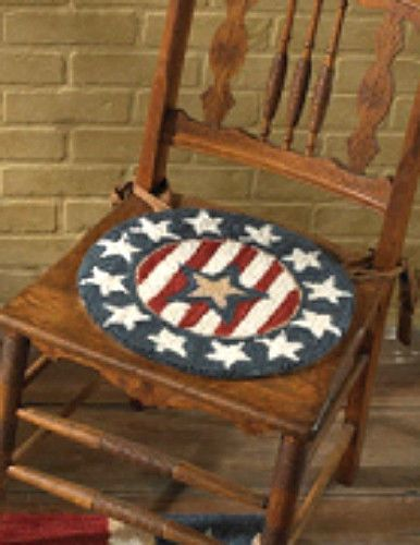 New Country Primitive AMERICANA FLAG STAR Wool Hooked Rug Chair Pad Seat  Cushion