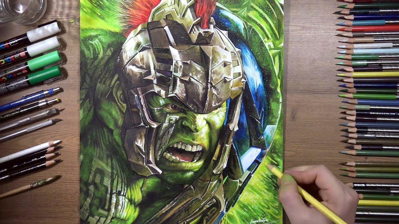Drawing Hulk Thor Ragnarok Drawholic Drawings Pencil Drawings Banner Drawing