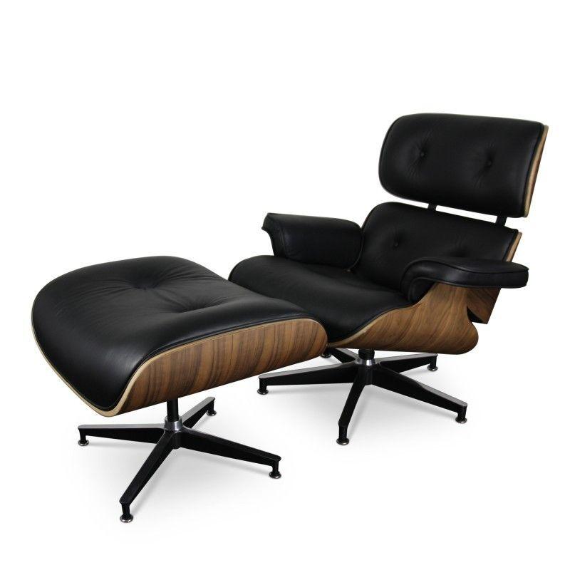 Eames Lounge Chair Met Ottoman Zwart   Fauteuils   Furnaround.com