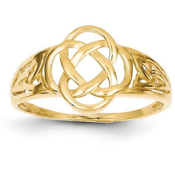 Ladies 14 Karat Yellow Gold Celtic Claddagh Ring