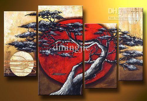 illustrativo dipinto vecchio albero alta q. pittura a olio di