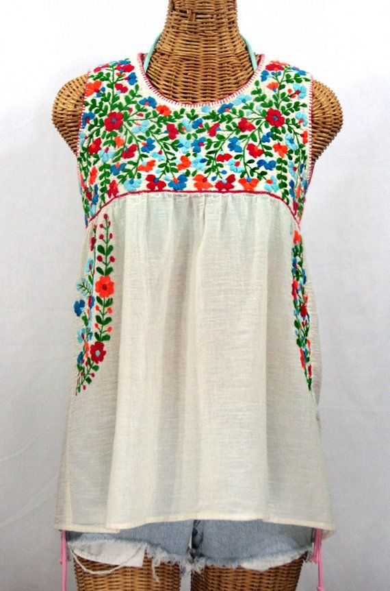 db21c7485f47e2 Mexican Peasant Top Blouse Sleeveless Hand Embroidered