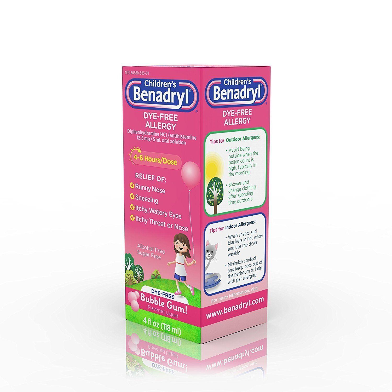 Children S Benadryl Dye Free Allergy Liquid Bubble Gum Flavored 4 Oz Ad Free Affiliate Allergy Dye Bubble Gum Flavor Allergies Benadryl