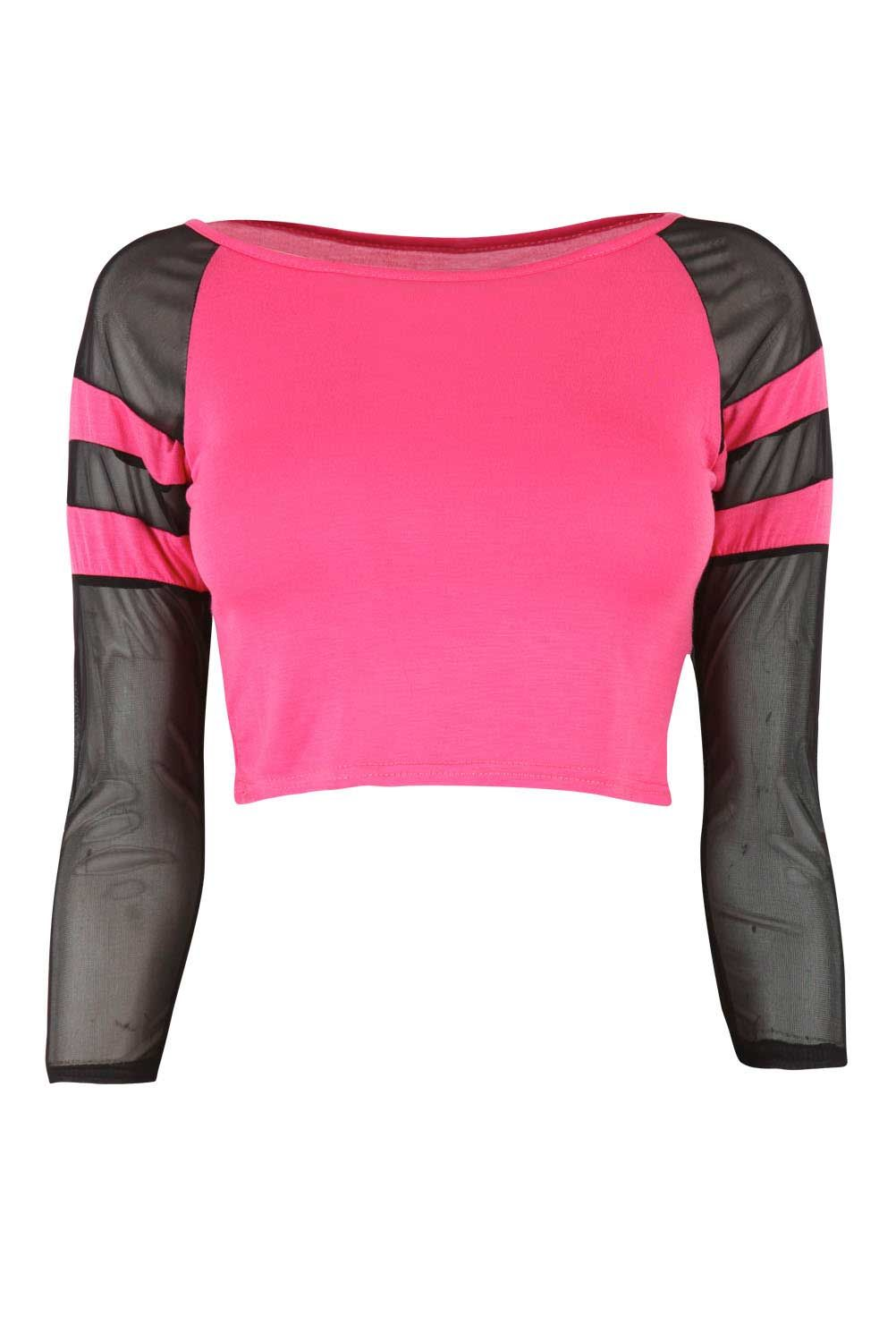 Coral Crop Top with Mesh Panels at Fashion Union